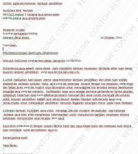 Contoh Surat Permohonan Bantuan - Contoh Resume