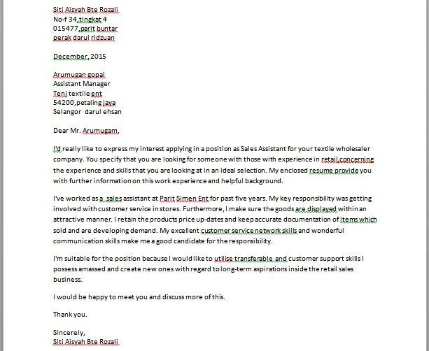 Contoh Surat Permohonan Kerja Bahasa English Contoh Resume