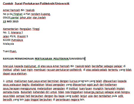 Contoh Surat Rayuan - Politeknik & Universiti — Contoh Resume