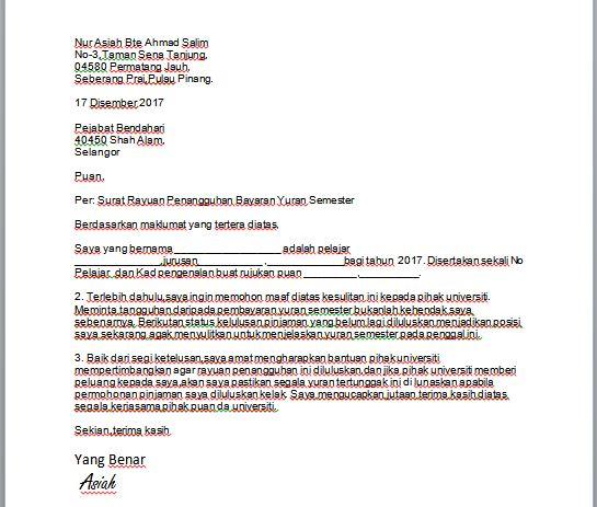 Contoh Surat Rayuan Penangguhan Bayaran Yuran Semester