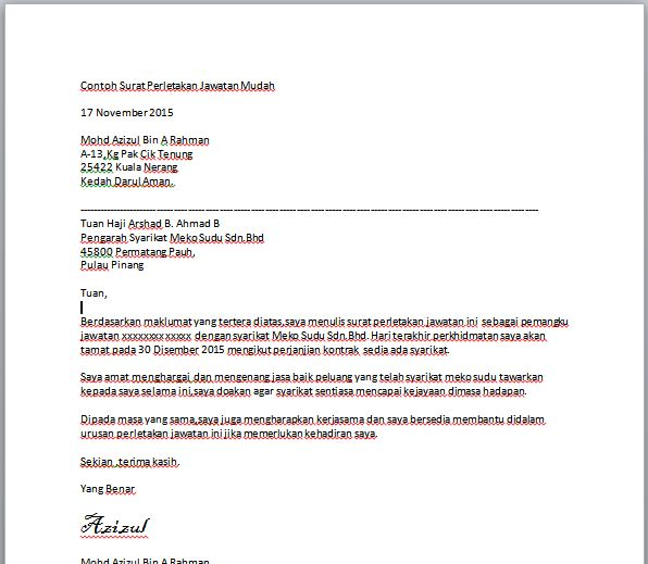 Contoh Surat Pengunduran Diri Wakil Direktur Surat G