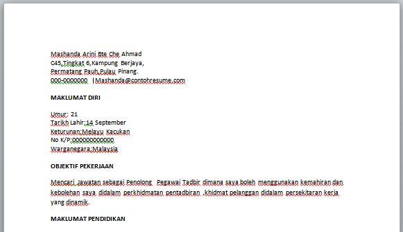 contoh resume penolong pegawai tadbir contoh resume