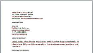 Contoh Resume Penolong Pegawai Tadbir
