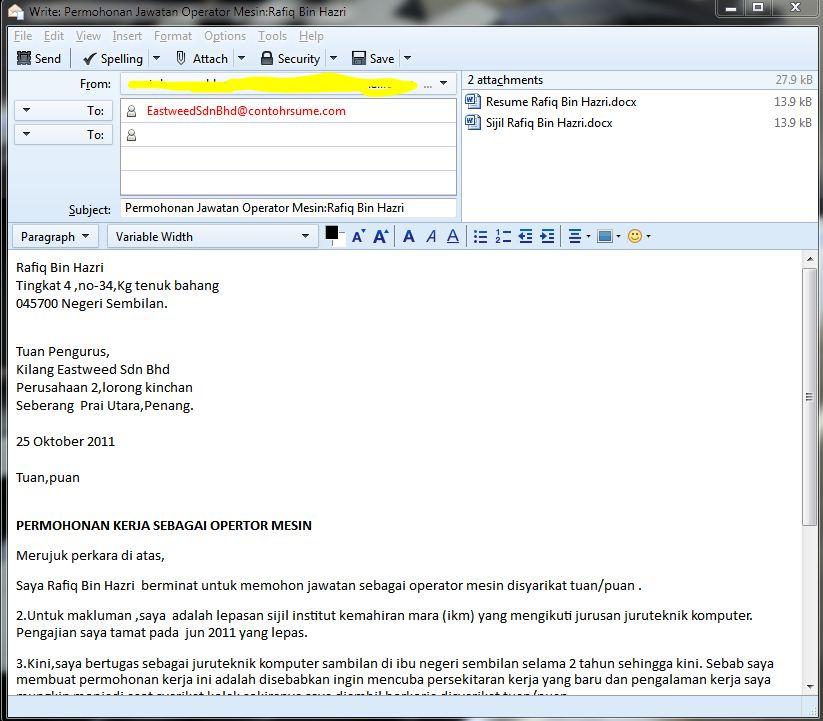 ... Menghantar Email Resume Dan Surat Permohonan Kerja — Contoh Resume