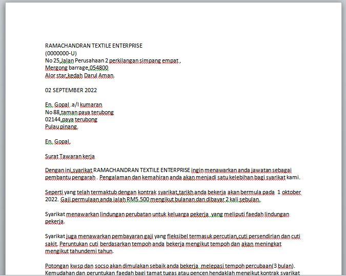 Contoh Surat Tawaran Pekerjaan