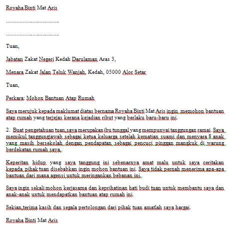Contoh Surat Mohon Bantuan Atap