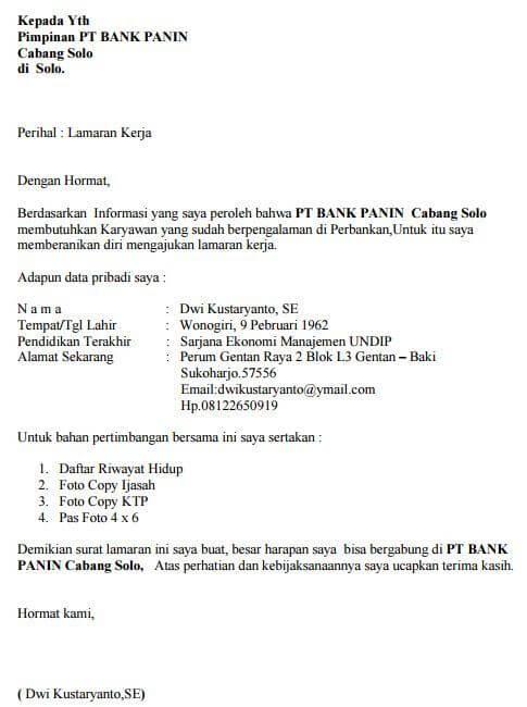 Contoh Surat Lamaran Kerja di Bank PANIN