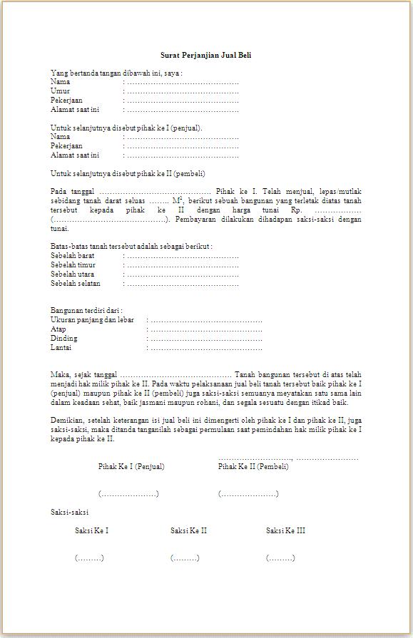 21++ Contoh surat kuasa jual beli tanah doc terbaru yang baik