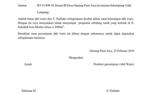 Contoh Surat Persetujuan Ahli Waris Jual Beli Tanah Surat Box Cute766