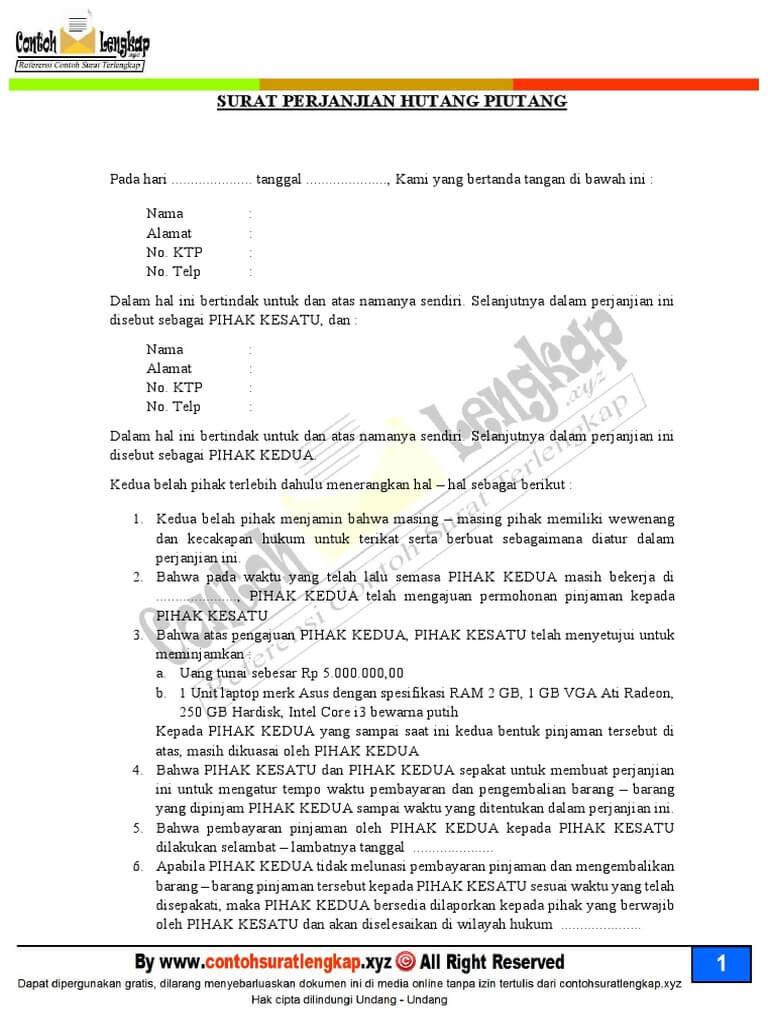 contoh surat perjanjian hutang piutang perusahaan