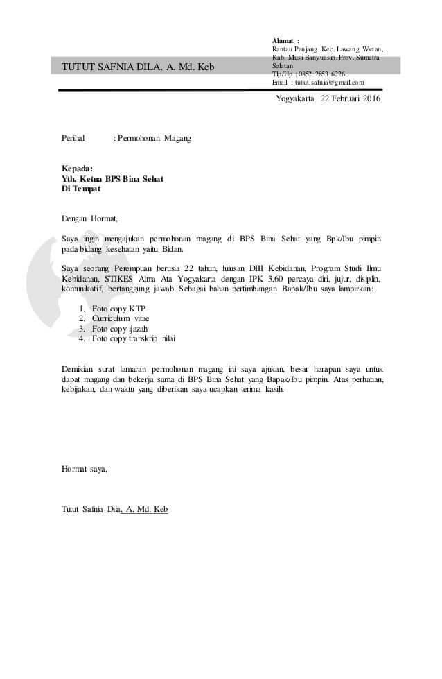 Contoh Surat Permohonan Magang Kerja yang Baik dan Benar