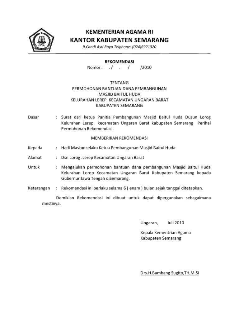 Surat Permohonan Rekomendasi Ke Dinas Pendidikan : surat, permohonan, rekomendasi, dinas, pendidikan, Contoh, Surat, Pengantar, Permohonan, Rekomendasi, Aparat, Pemerintahan