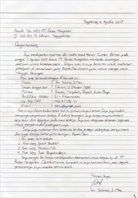 Contoh Lamaran Pekerjaan Sederhana Tulis Tangan