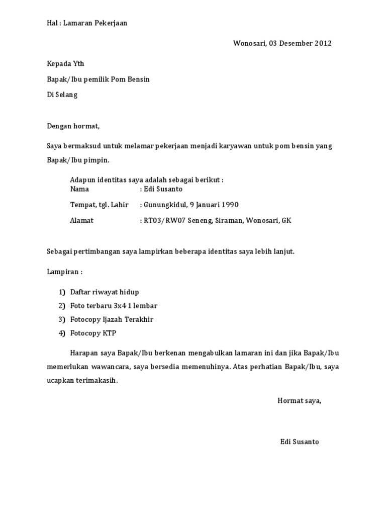 Bagian Bagian Surat Lamaran Pekerjaan : bagian, surat, lamaran, pekerjaan, Contoh, Surat, Lamaran, Kerja, Pertamina