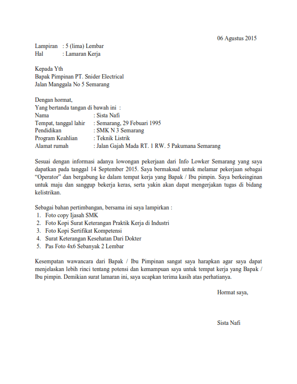 Contoh Surat Lamaran Kerja Operator Produksi Via Email