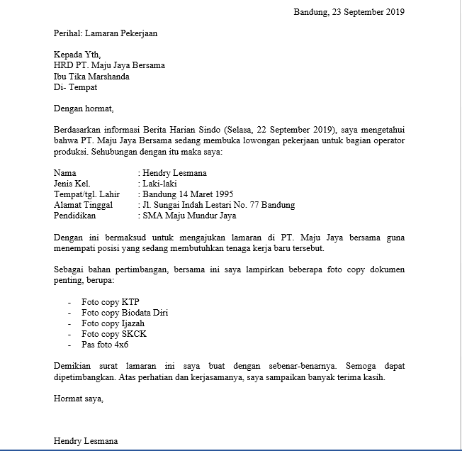 Contoh Surat Lamaran Kerja Bagian Produksi Sebagai Operator