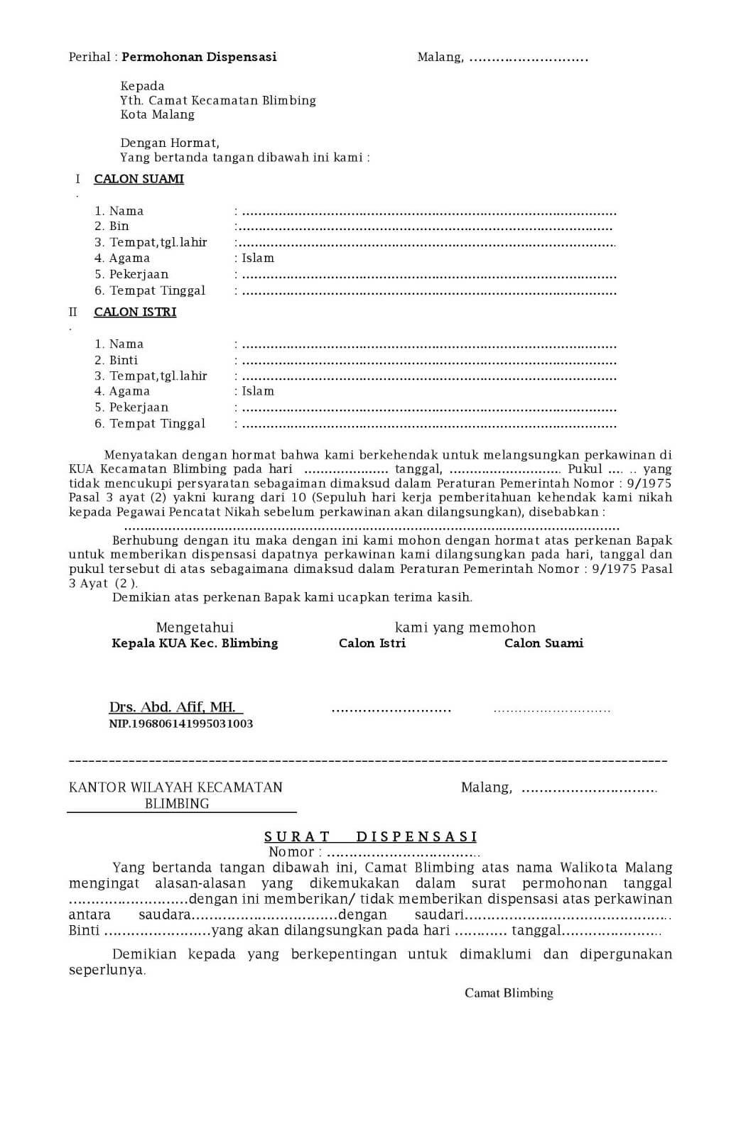 Contoh Surat Permohonan Dispensasi Nikah