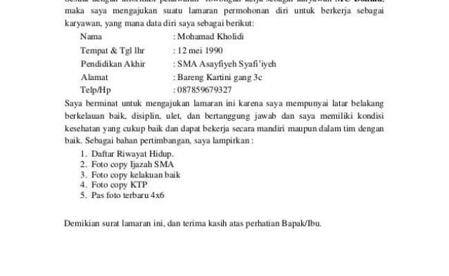Contoh Surat Lamaran Kerja Restoran Dalam Bahasa Inggris Cute766