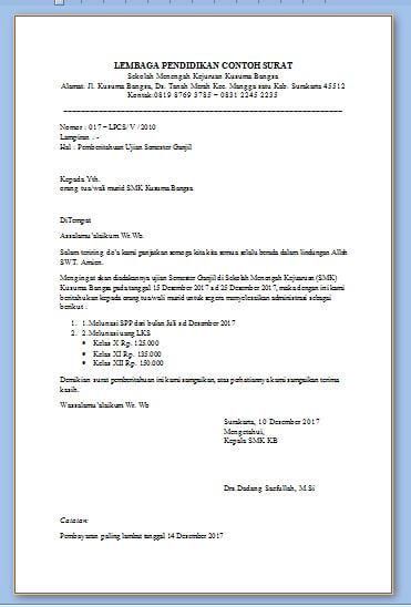 Contoh Surat Pemberitahuan Pelaksanaan Ujian Sekolah