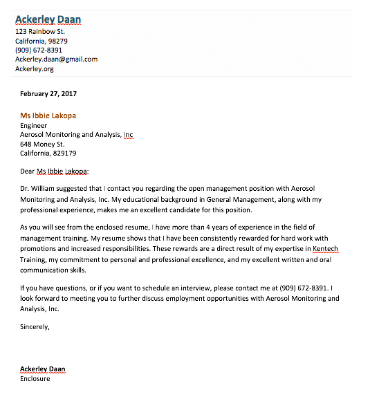 Cover Letter Template in Microsoft Word