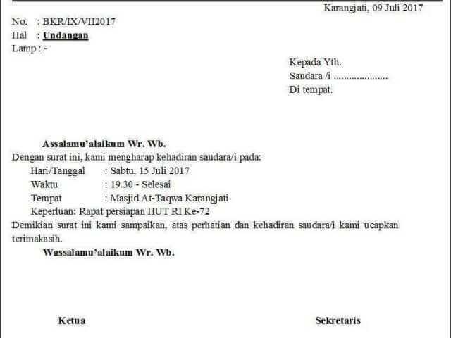 contoh surat undangan setengah resmi