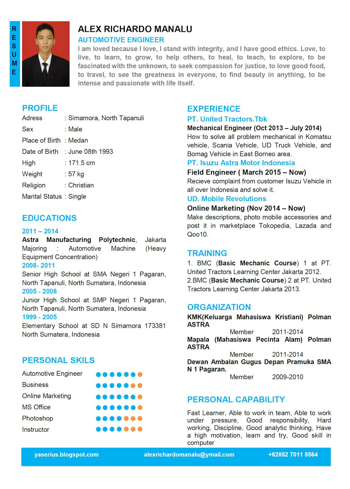 Contoh CV Dalam Bahasa Inggris Menarik dan Terbaru