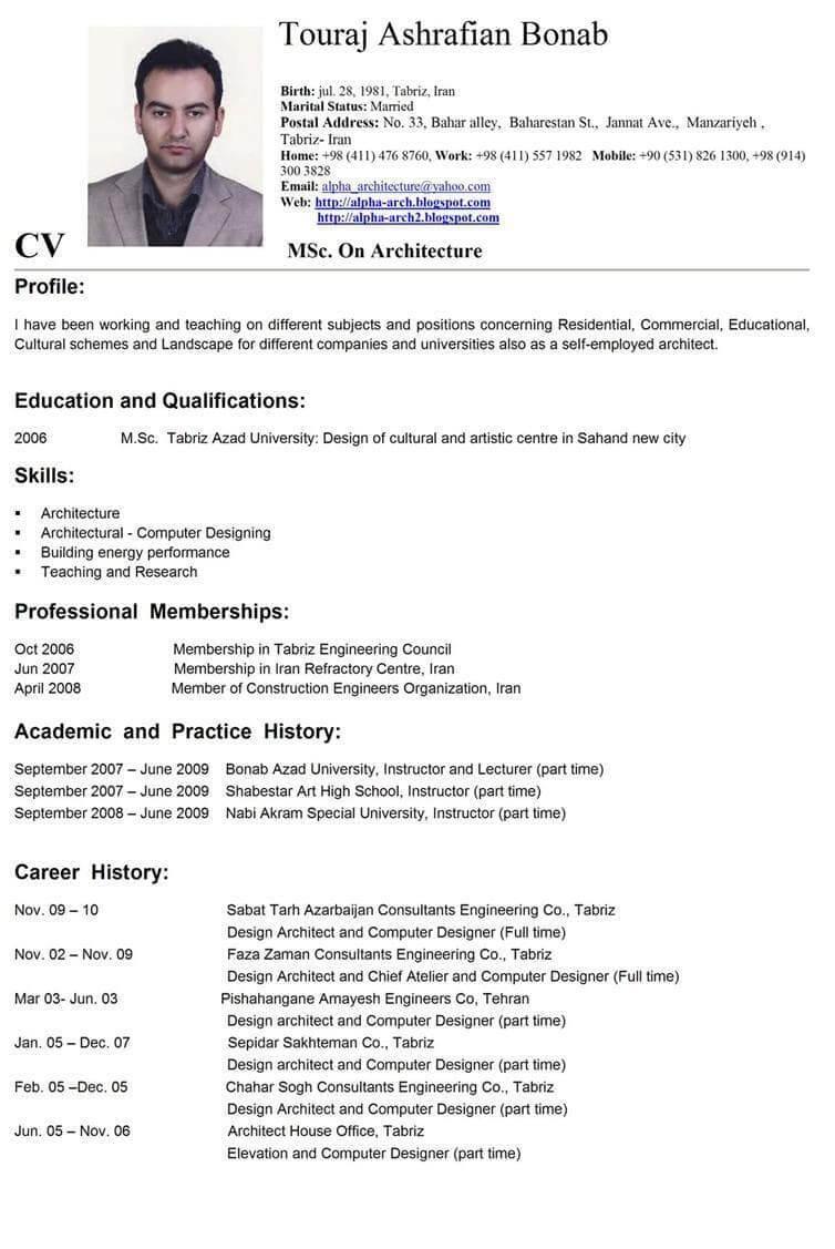 Contoh CV Dalam Bahasa Inggris Sebagai Guru