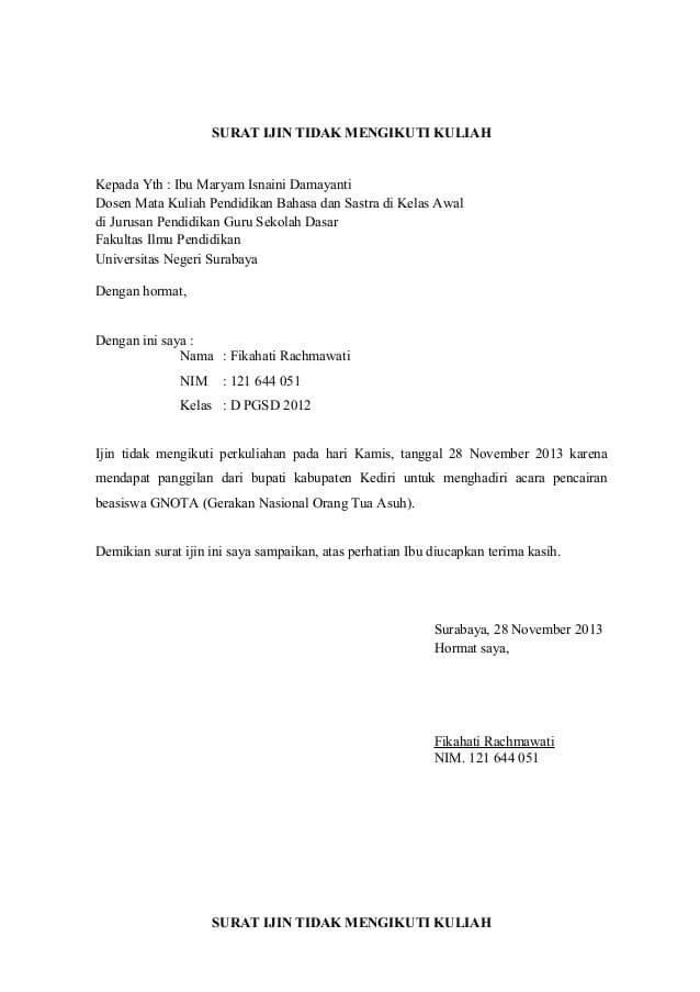 Contoh Surat Izin Tidak Masuk Kuliah Dari Orang Tua