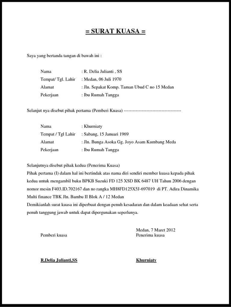 Contoh Surat Kuasa Pengambilan Dokumen Doc