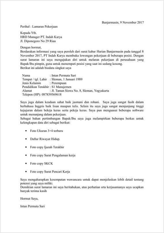 Contoh Surat Lamaran Kerja Umum