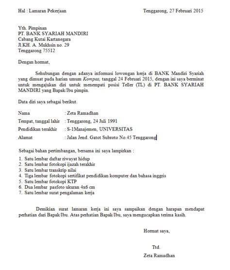 Contoh Surat Lamaran Kerja Bank Mega Syariah