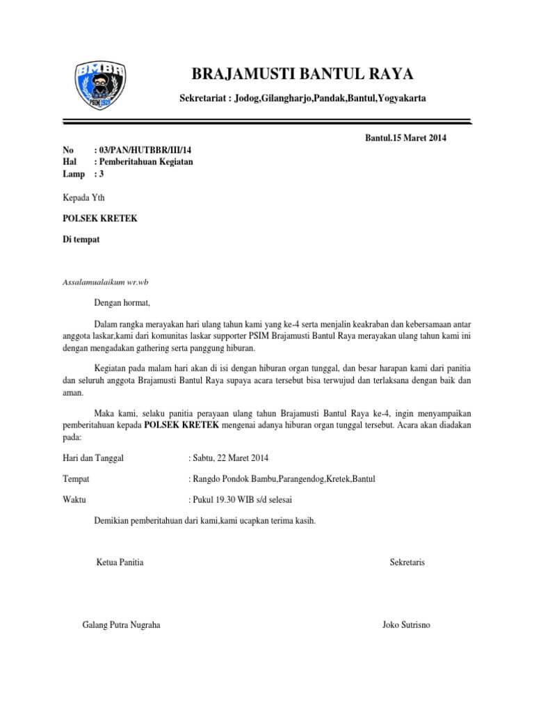 Contoh Surat Pemberitahuan Keramaian ke Kepolisian