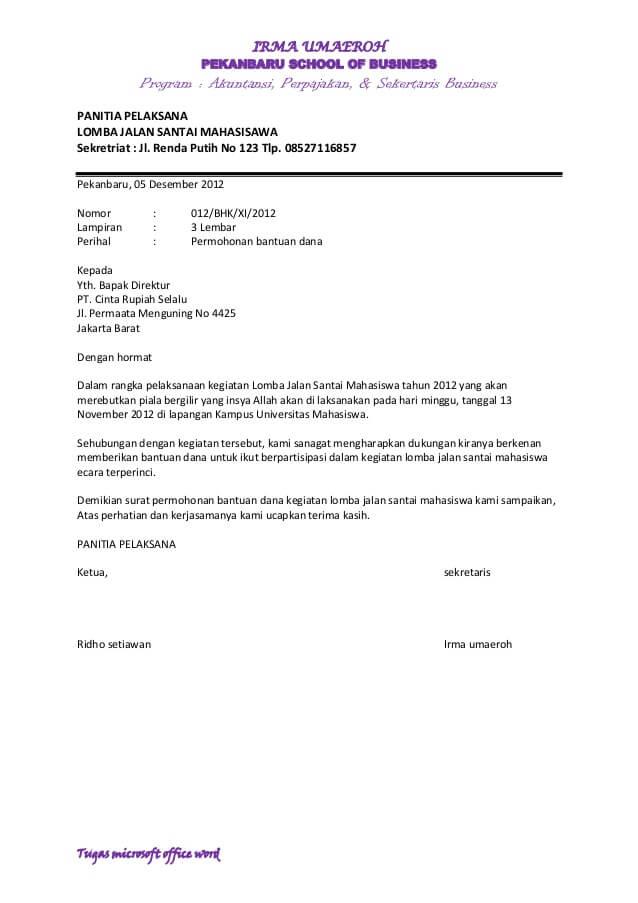 Contoh Surat Pengajuan Dana Ke Perusahaan