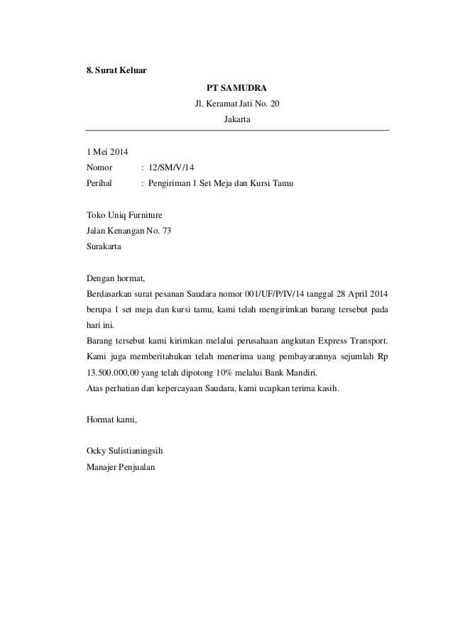 Contoh Surat Pengiriman Pembayaran