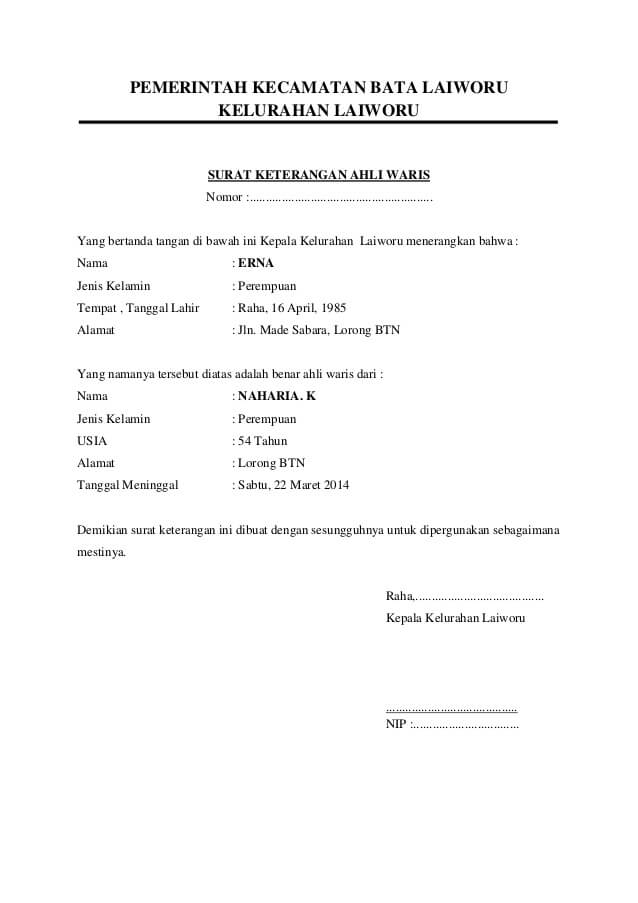 Contoh Surat Pernyataan Ahli Waris Tunggal