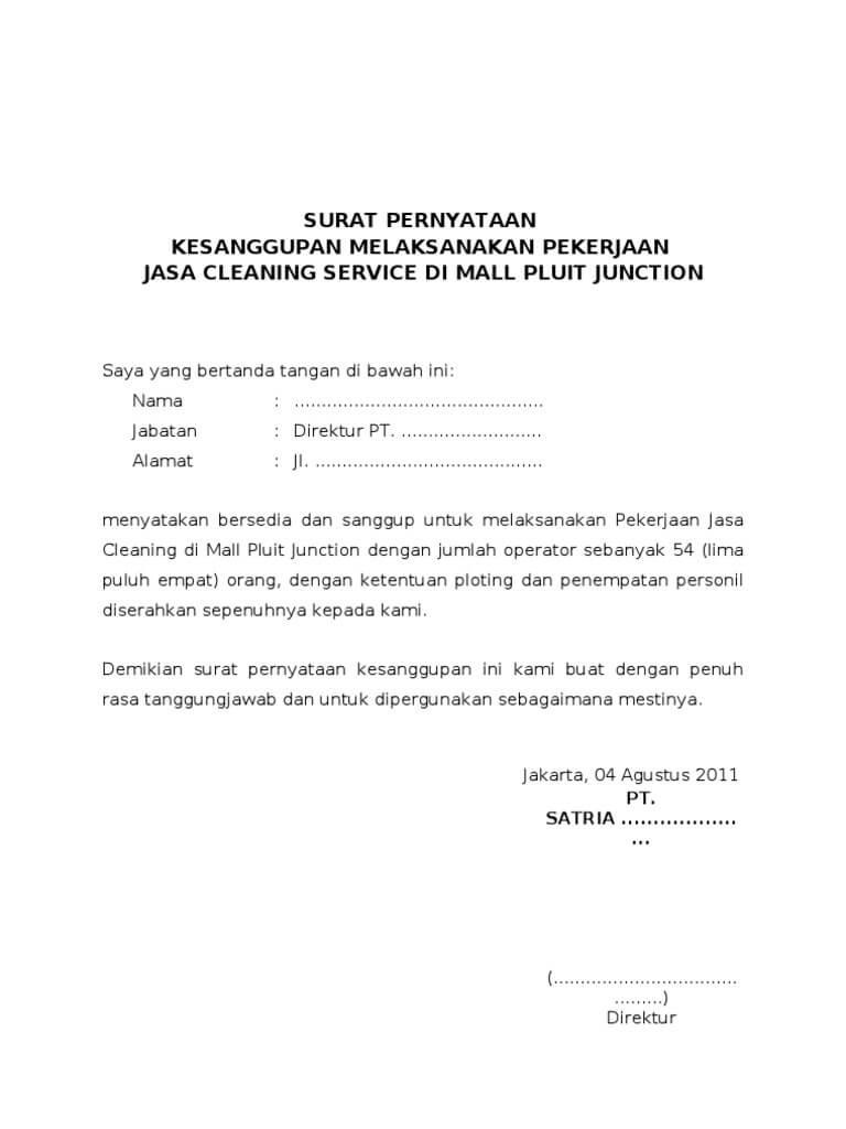 Contoh Surat Pernyataan Kesanggupan Melaksanakan Pekerjaan