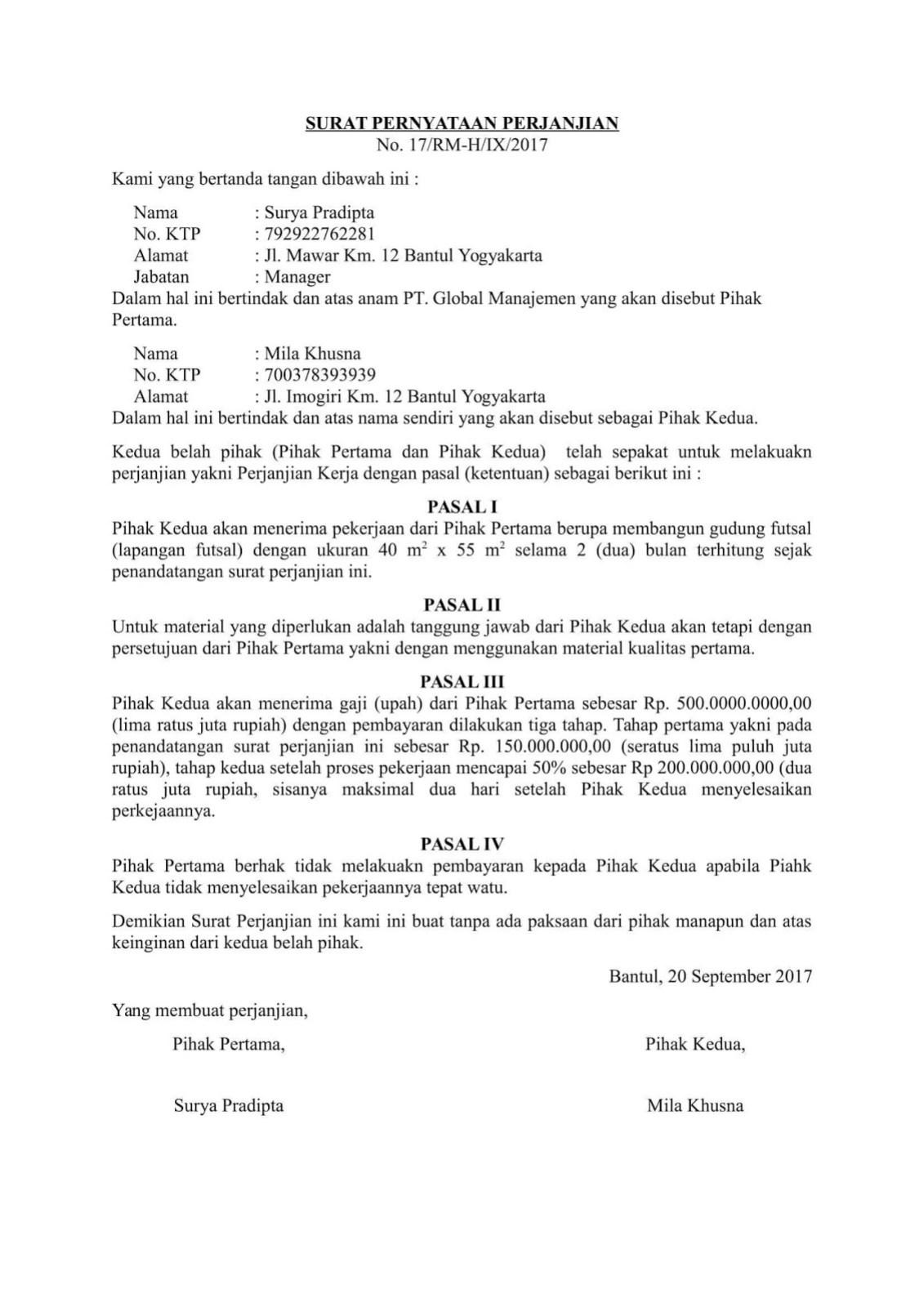 Contoh Surat Pernyataan Perjanjian