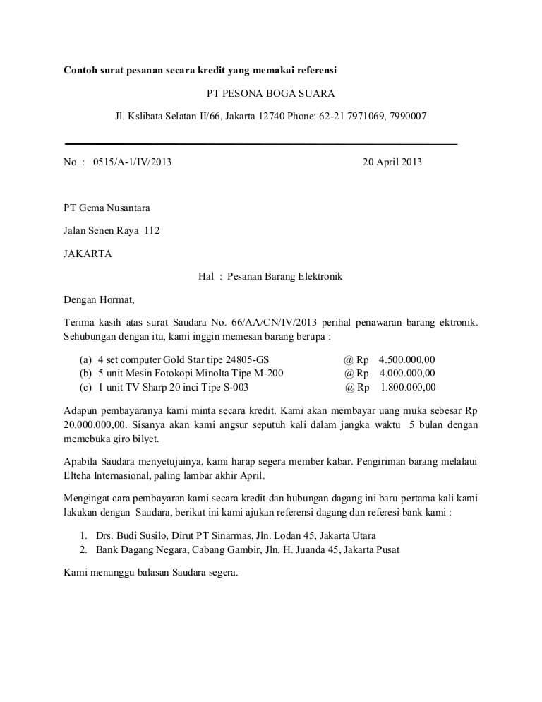 Contoh Surat Pesanan Barang Block Style