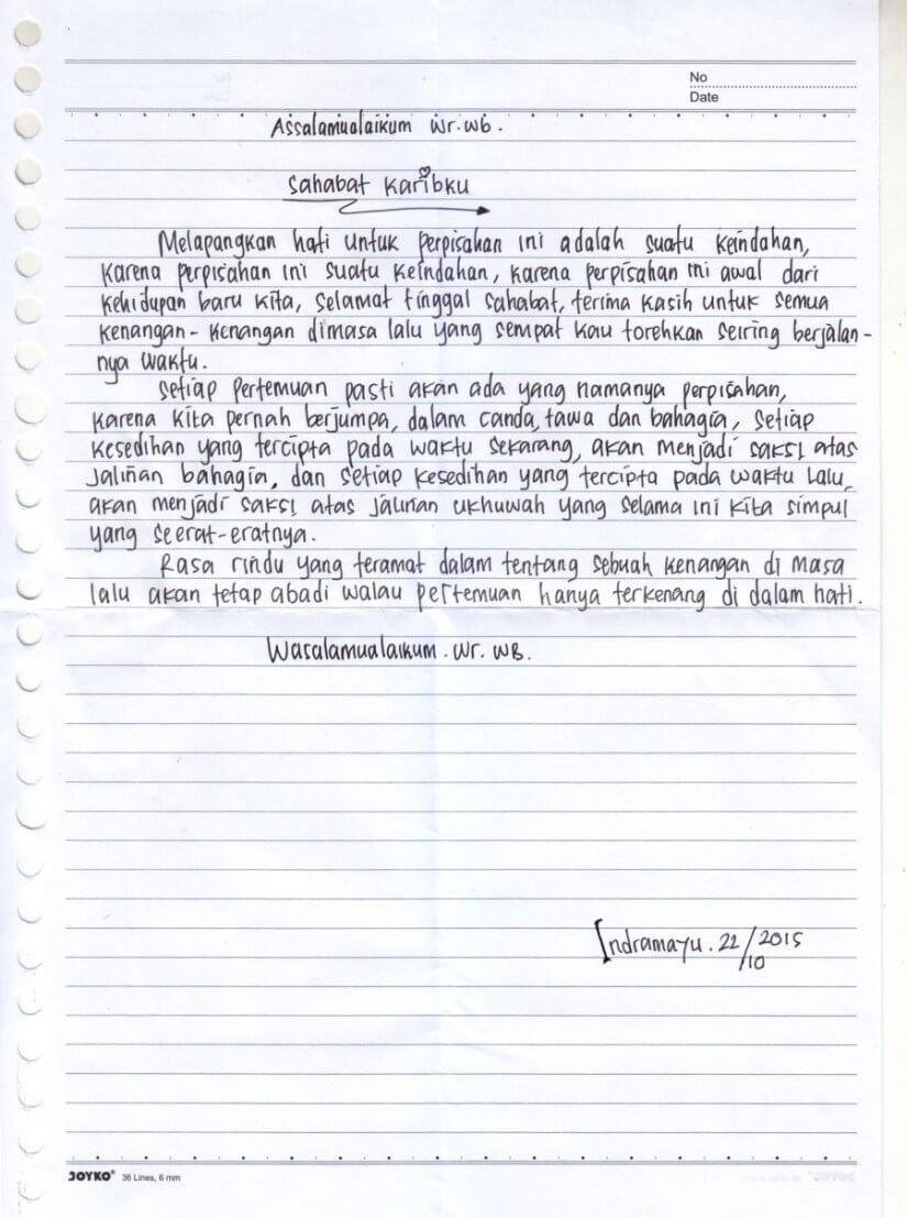Contoh Surat Pribadi Untuk Sahabat Kecil