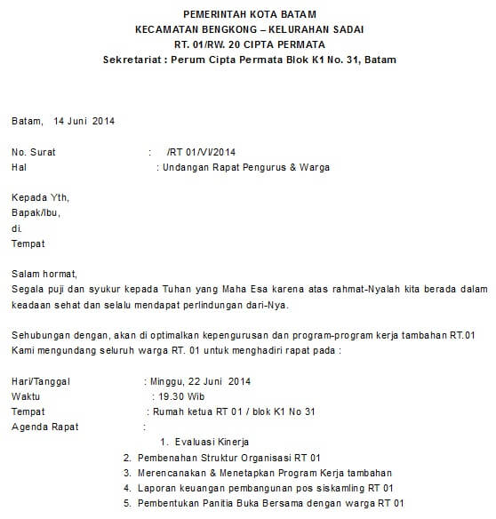 Contoh Surat Pemberitahuan Kegiatan Rt Paling Lengkap Untuk