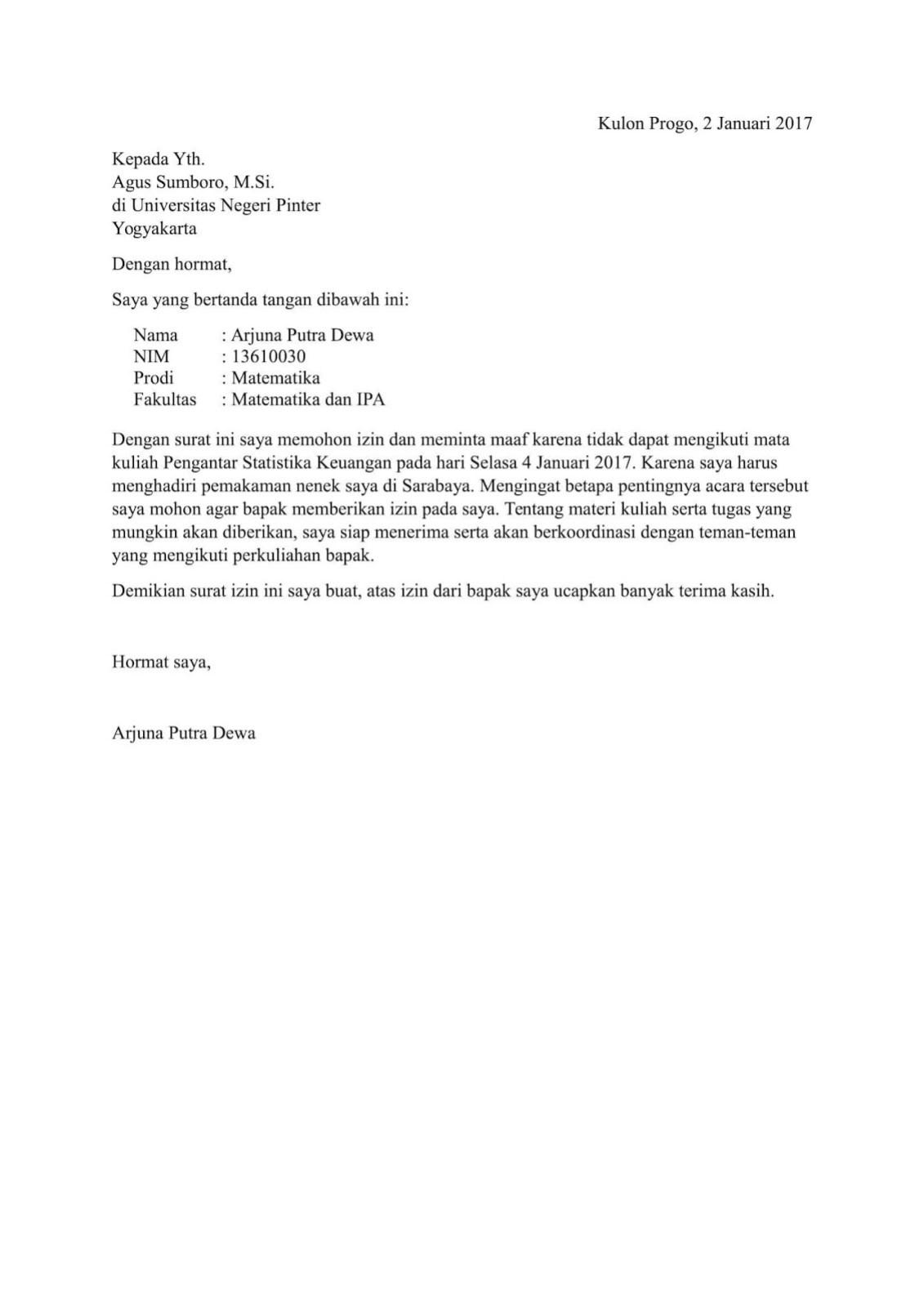 Contoh surat permohonan izin tidak mengikuti kuliah