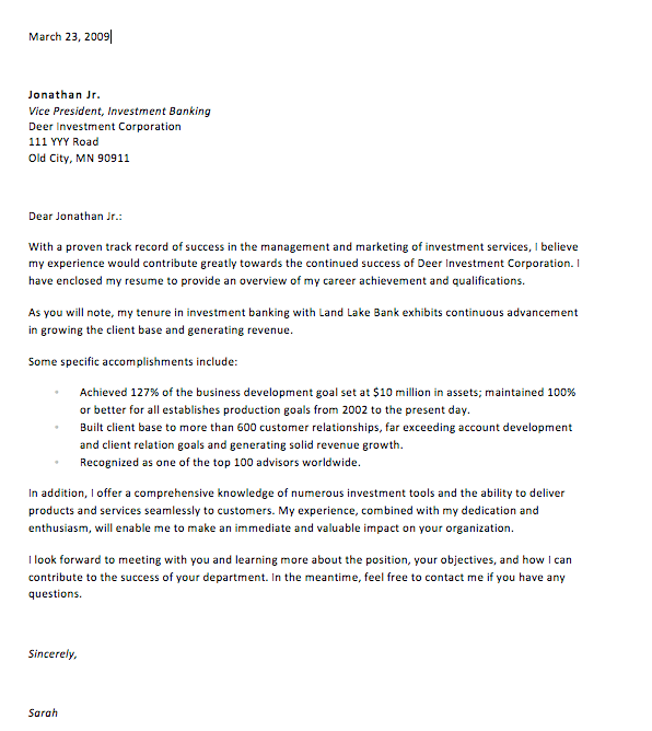 Cover Letter in Response to Ad