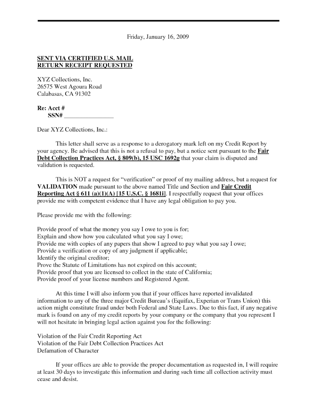Debt Validation Letter To Credit Bureaus Pdf
