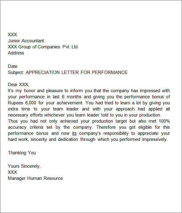 Examples Of Letters Of Appreciation