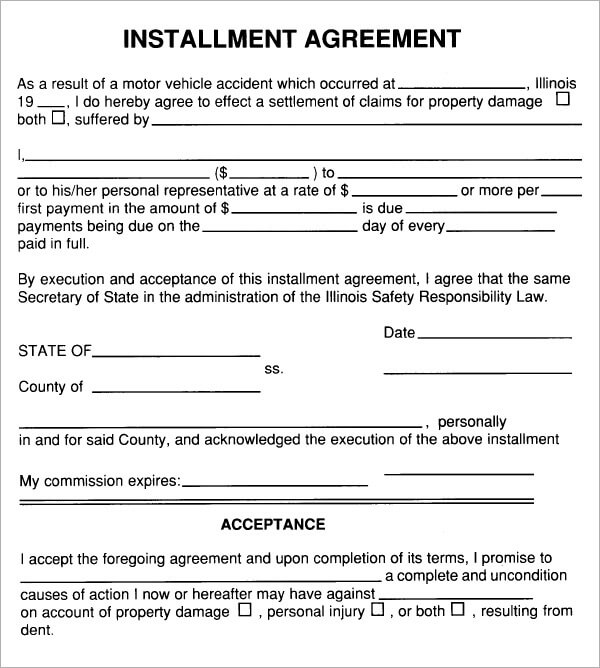 Installment Payment Agreement Letter