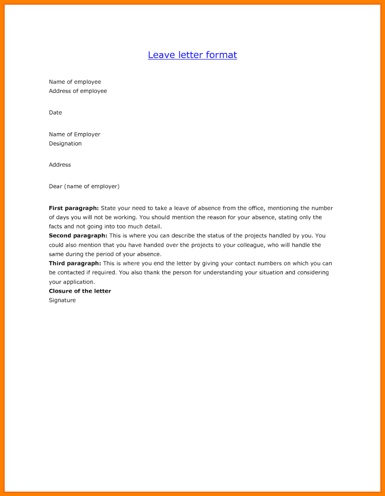 Leave Application Format For Employee