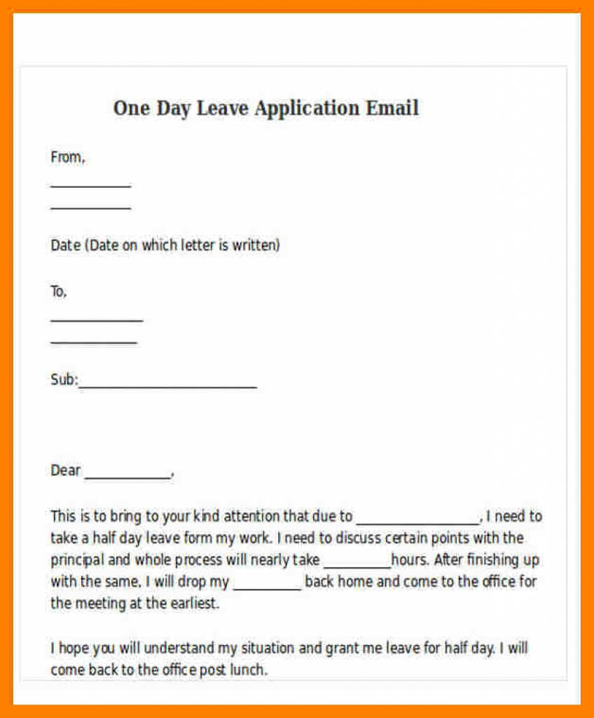 One Day Leave Letter Format For Office