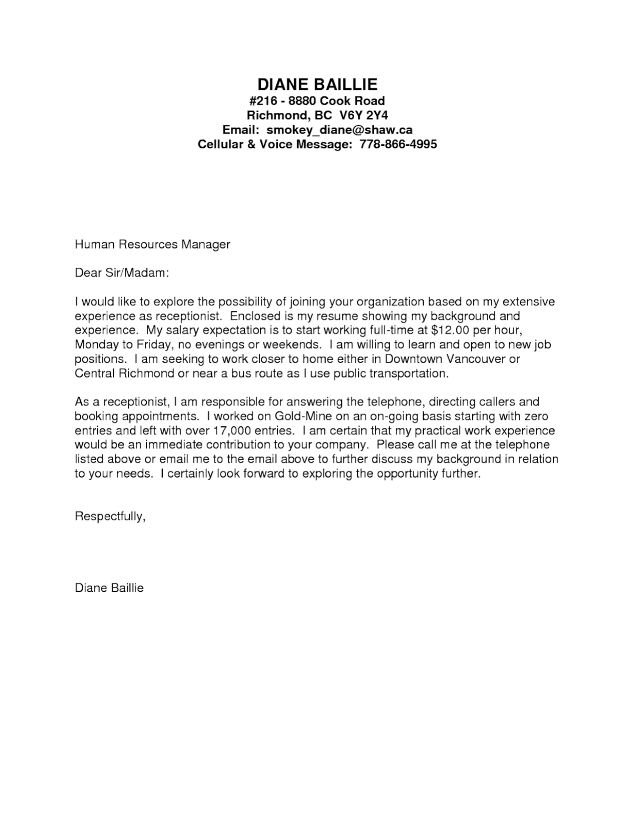 Receptionist Cover Letter No Experience