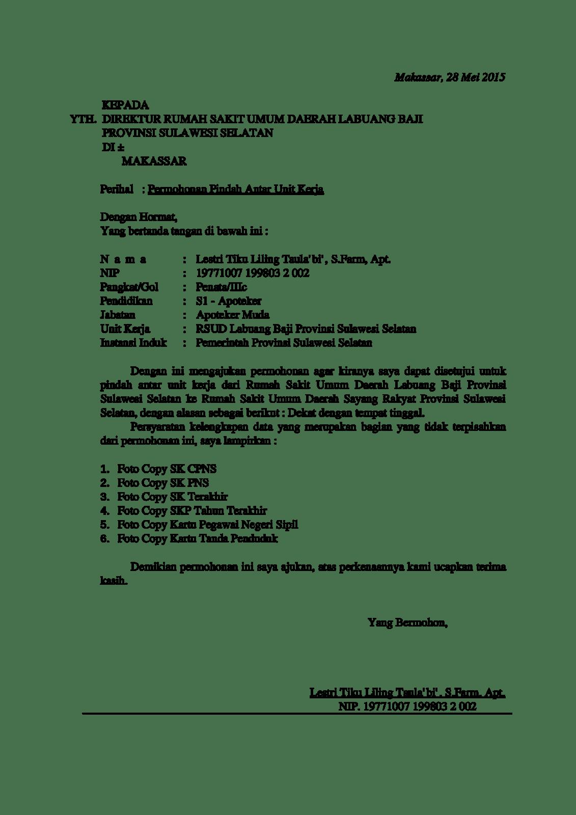 Surat Permohonan Mutasi Kerja Karyawan Swasta Contoh Seputar Surat