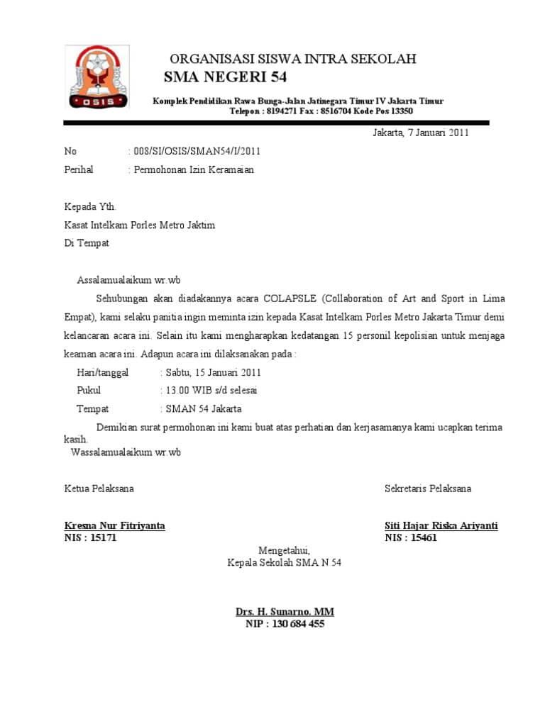 Contoh Surat Izin Kegiatan ke Polisi